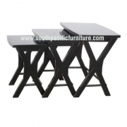 Black shabby chic Cross Nest table