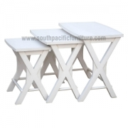 White shabby chic Cross Nest table